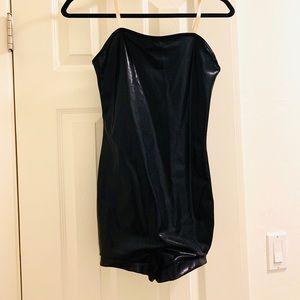 Weissman black bodysuit with shorts. dance wear
